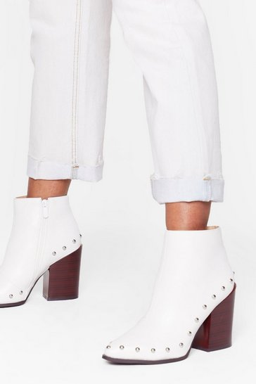 Womens White Stud Bye Faux Leather Ankle Boots