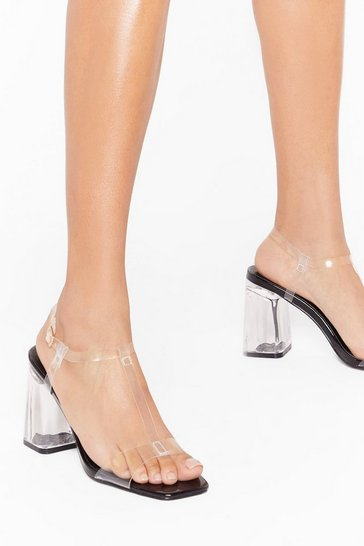 Womens Black Time to Raise T Bar Clear Heels