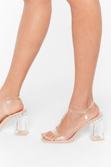 Womens Nude Time to Raise T Bar Perspex Heels