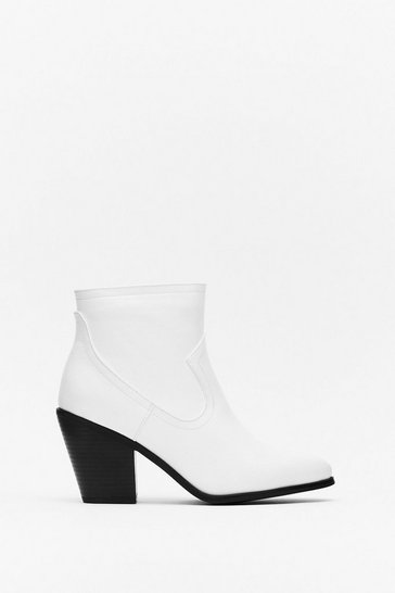 White Raise Your Game Faux Leather Heeled Boots