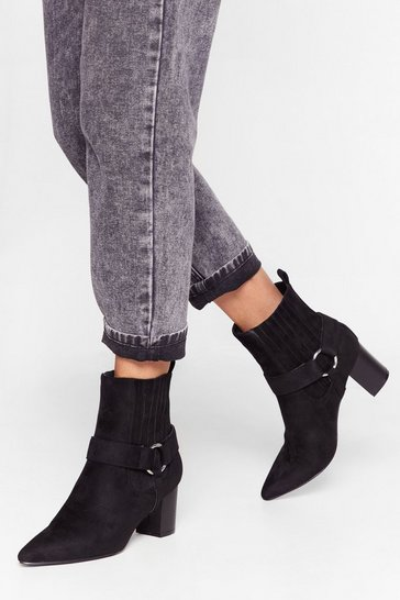 Black Faux Suede Heeled Boots with Block Heel