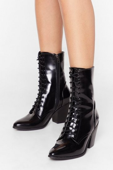 Black Together At Last Patent Lace-Up Boots