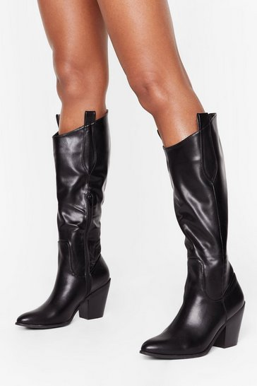 Black Ride into the Distance Knee-High Western Boots