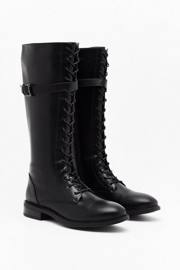 Black Little too Lace-Up Knee-High Biker Boots