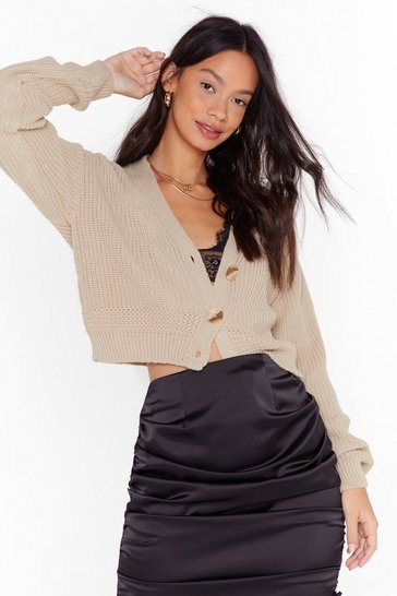 Camel V the One Button-Down Cropped Cardigan
