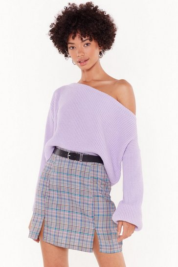 Womens Lilac  somethings off the shoulder knit jumper