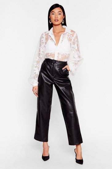 Black We've Got to Faux Leather Croc Pants