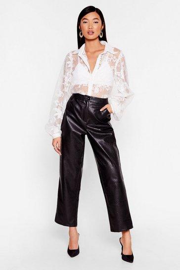 Black We've Got to Faux Leather Croc Pants