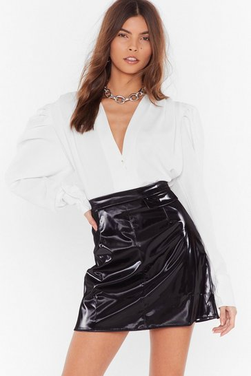 Womens Black Your Vinyl Warning High-Waisted Mini Skirt