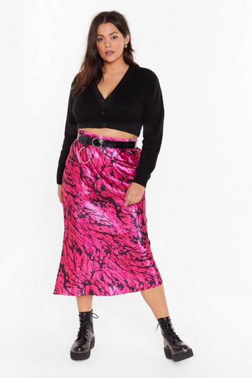 Womens Black Sleek for Yourself Plus Satin Midi Skirt