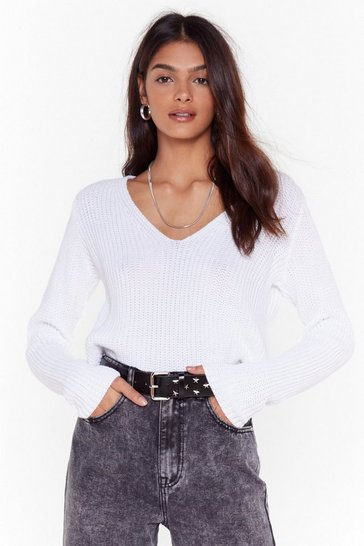 White The World Revolves Around V Knit Sweater