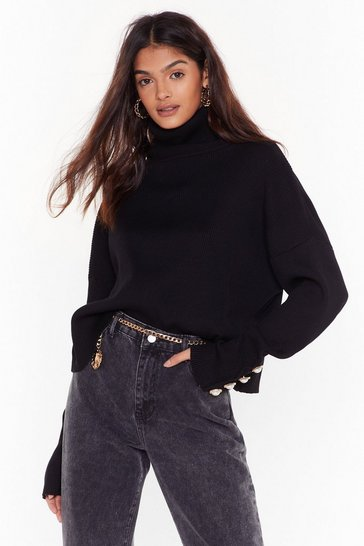 Womens Black Pearl of Your Dreams Turtleneck Knitted Sweater