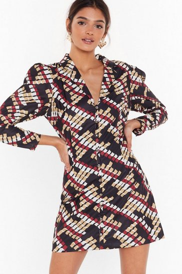 Womens Black It's Going Button-Down Geo Mini Dress