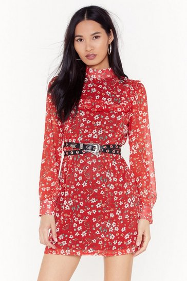 Red Look Bud Don't Touch Floral Mini Dress