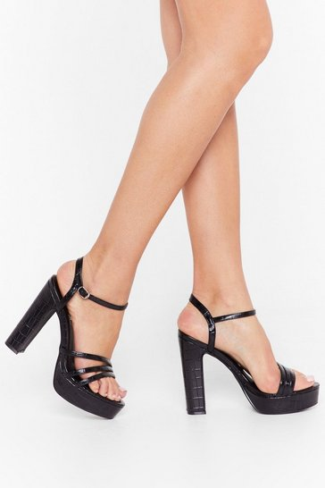 Black Level Up Faux Leather Croc Heels