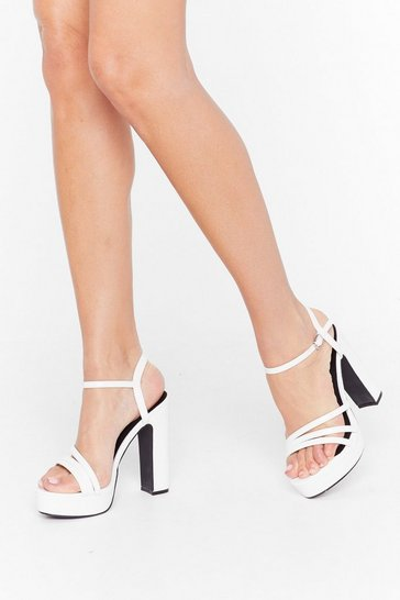 Womens White Multi strap faux croc platform sandals