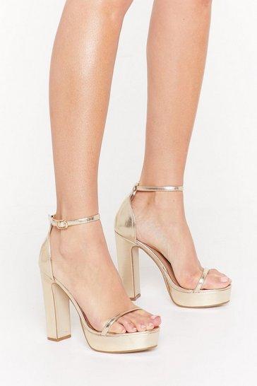 Gold Just Dance Strappy Platform Heels