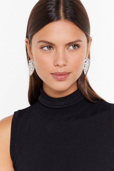 Womens Silver Dimante statement tear drop earrings