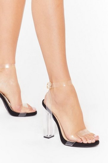 Black Let's Be Clear Wide Fit Clear Heels