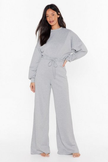 Womens Grey Let's Chill Batwing Sweatshirt and Wide-Leg Pants Set