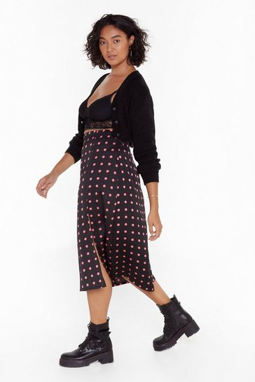 Womens Black Ain't Dot Far to Go Plus Slit Midi Skirt