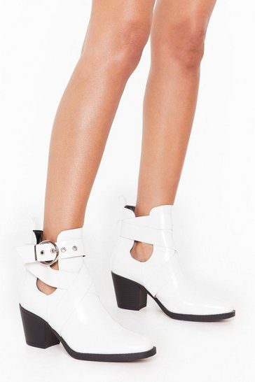 Womens White Time's Runnin' Cut-Out Wide Fit Faux Leather Boots
