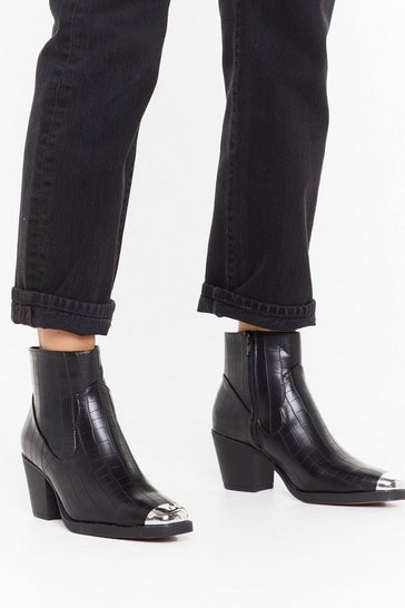 Black You Belong Toe Me Faux Leather Croc Boots