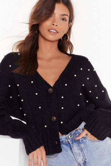 Black Here Come the Pearls Cropped Cardigan