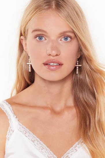 Womens Gold You Crossed the Wrong Pearl Drop Earrings