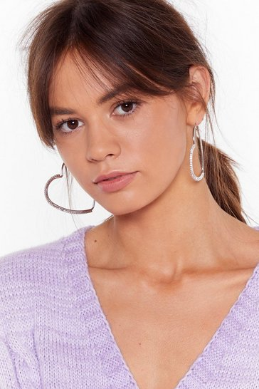 Womens Silver Don't Take It to Heart Diamante Hoop Earrings