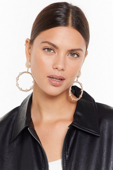 Womens Gold They'll Come Around Drop Hoop Earrings
