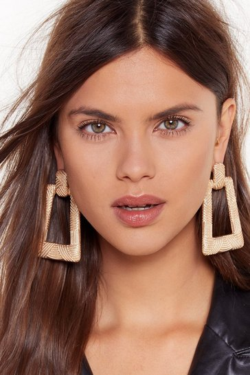Womens Gold I'm All Ears Textured Door-Knocker Earrings