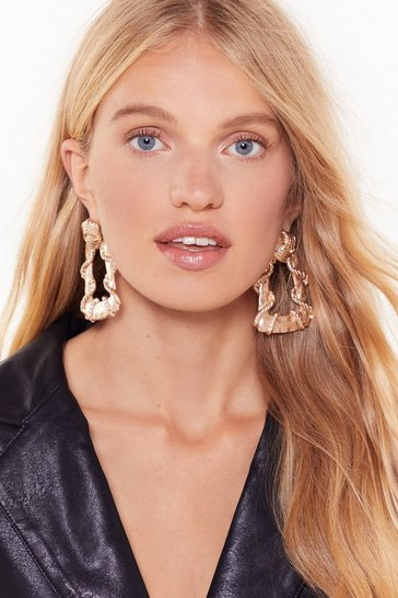 Womens Gold Don't Lose Rope Door-Knocker Earrings