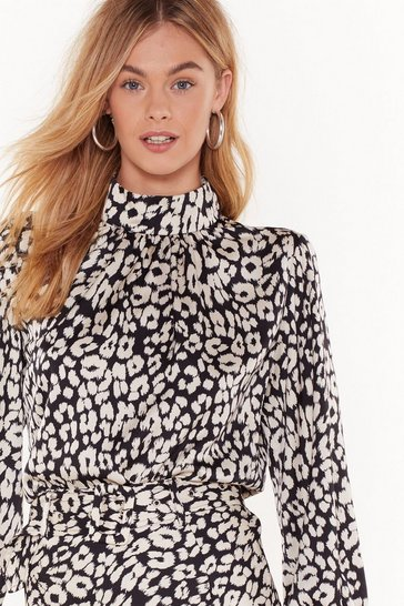 Black Runnin' Wild Satin Leopard Blouse