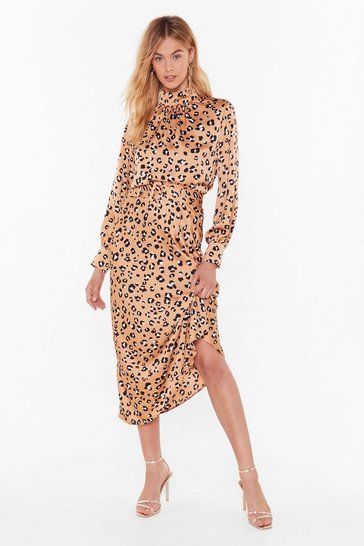 Gold Days of Wild Satin Leopard Midi Skirt