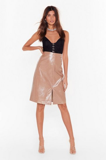 Nude Believe It or Croc Faux Leather Midi Skirt