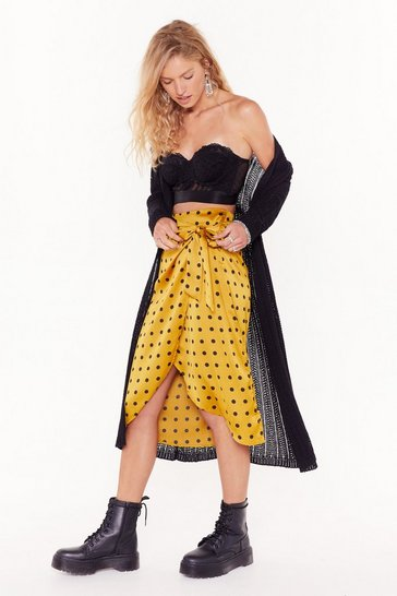 Womens Gold It's Dot Me Satin Midi Skirt