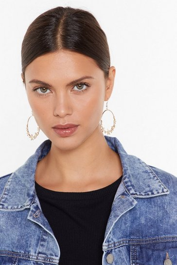 Womens Gold You're a Big Star Drop Hoop Earrings