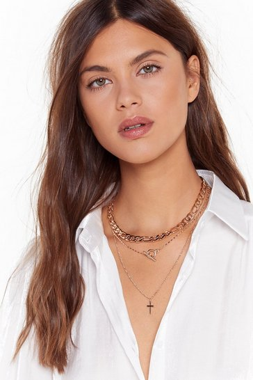 Womens Gold Cross in the Moment Layered Necklace
