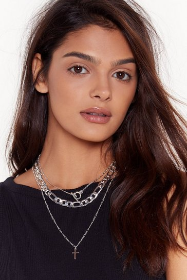 Womens Silver Cross in the Moment Layered Necklace