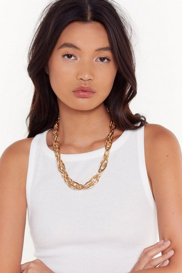 Womens Gold Roped into It Chunky Chain Necklace