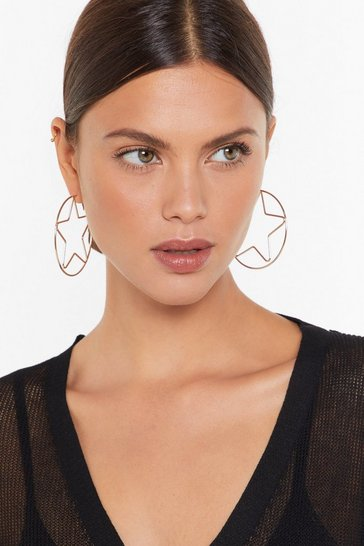 Womens Gold In Focus Star Hoop Earrings