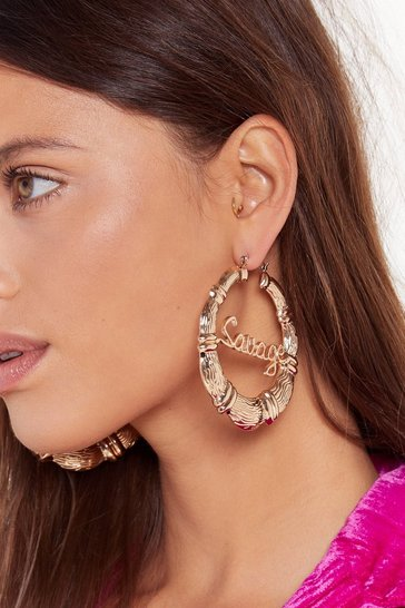 Womens Gold Call Me Savage Oversized Hoop Earrings
