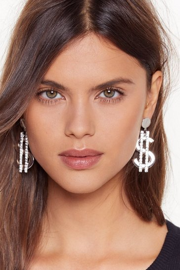 Womens Silver Show Me the Money Diamante Dollar Sign Earrings
