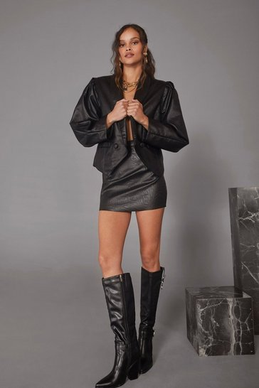 Womens Black Cara Delevingne Forbidden Love Faux Leather Blazer