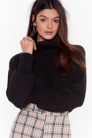 Black plain roll neck balloon sleeve crop jumper