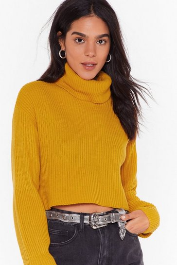 Mustard Knit the End of the World Turtleneck Cropped Jumper