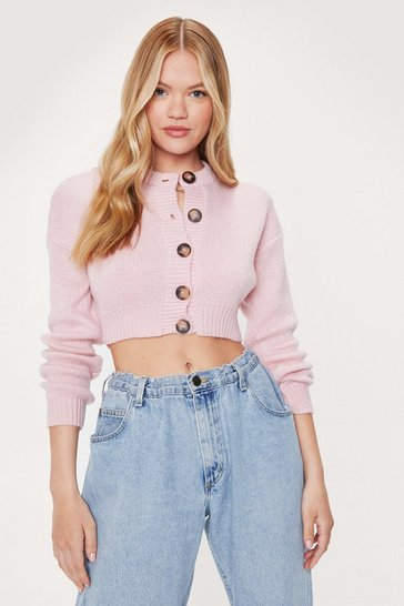 Pink Cropped Cardigan with Ribbed Edges