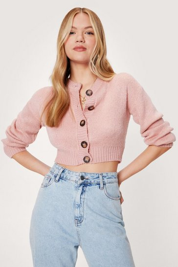 Rose Crew Neck Cropped Knit Cardigan