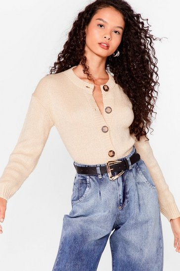 Stone Cropped Cardigan with Ribbed Edges